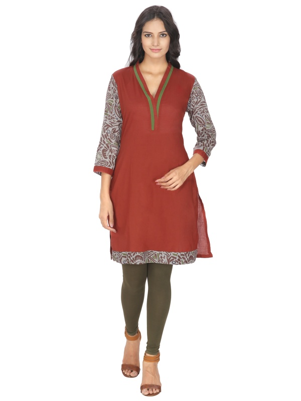 8f0370e1b Red Cotton Ethnic Kurti from Lingra – coutloot.com