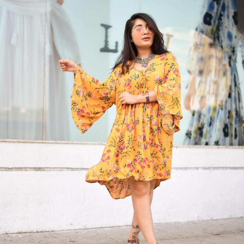 7438c8988a Vibing Boho kimono sleeve smock dress from SHEIN – coutloot.com