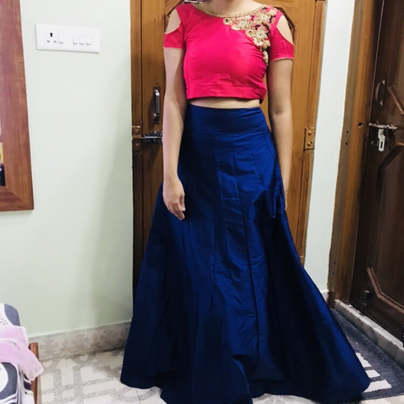 8a92e6c9509 Red cold-shoulder crop top and blue maxi skirt from StyleTribe ...