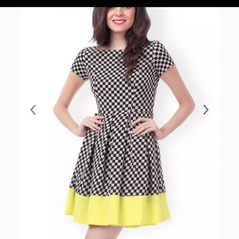 5a6e9fd394cb Womens black and white checkered mini dress from Sassafras ...