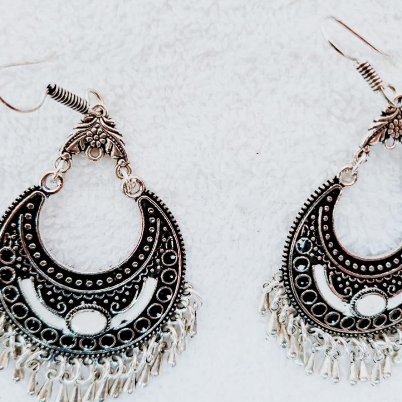Afghani style silver oxidised earrings