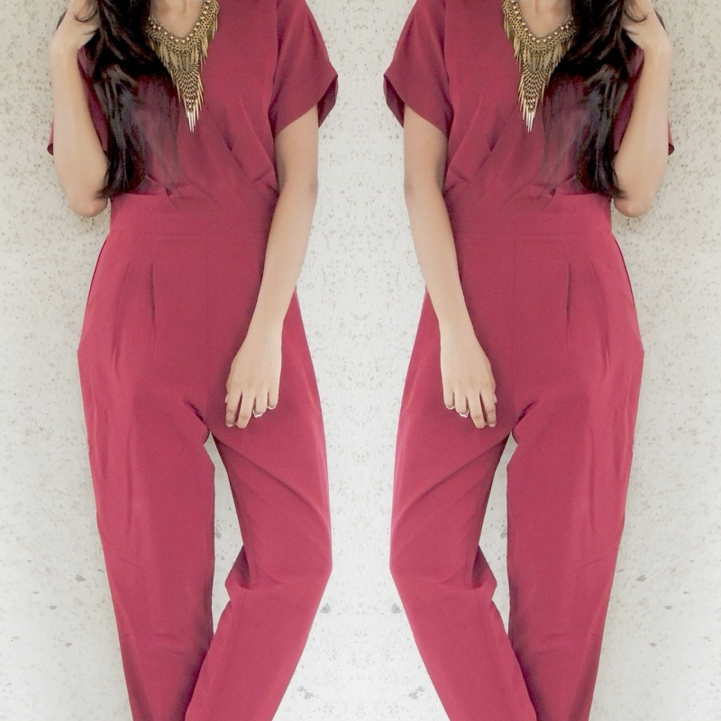 879d76c771 Womens red v-neck jumpsuit from Koovs – coutloot.com