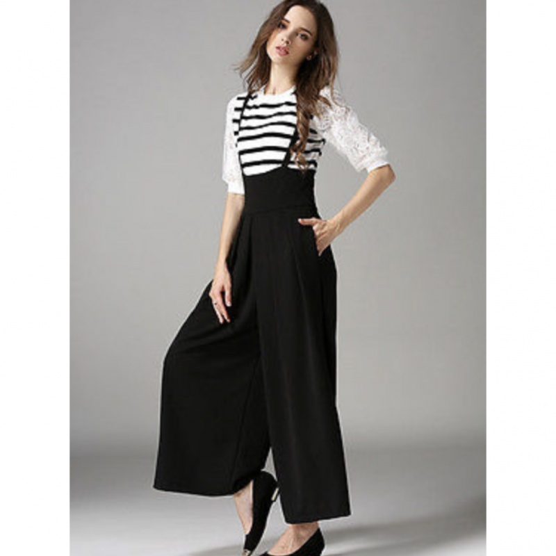 03ec099de New Women Casual Pleated High Waisted Wide Leg Palazzo Pants Suspenders  Trousers