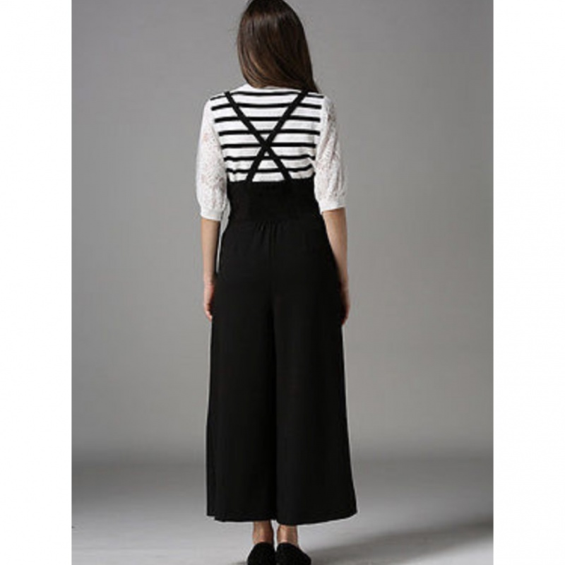 7051fe468bdce New Women Casual Pleated High Waisted Wide Leg Palazzo Pants Suspenders  Trousers