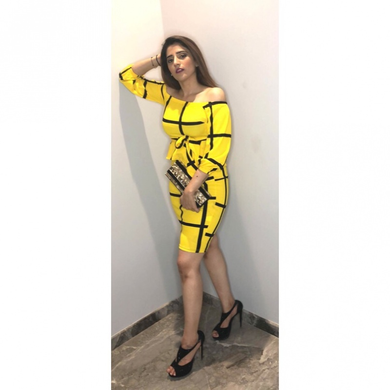 2f51fb47fc Womens yellow and black off-shoulder dress from SHEIN – coutloot.com