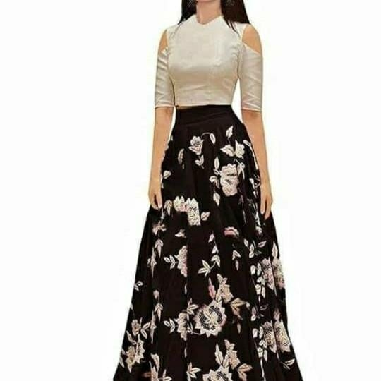 781b129b74 Womens white cold-shoulder elbow-sleeved crop top and brown and white floral  maxi