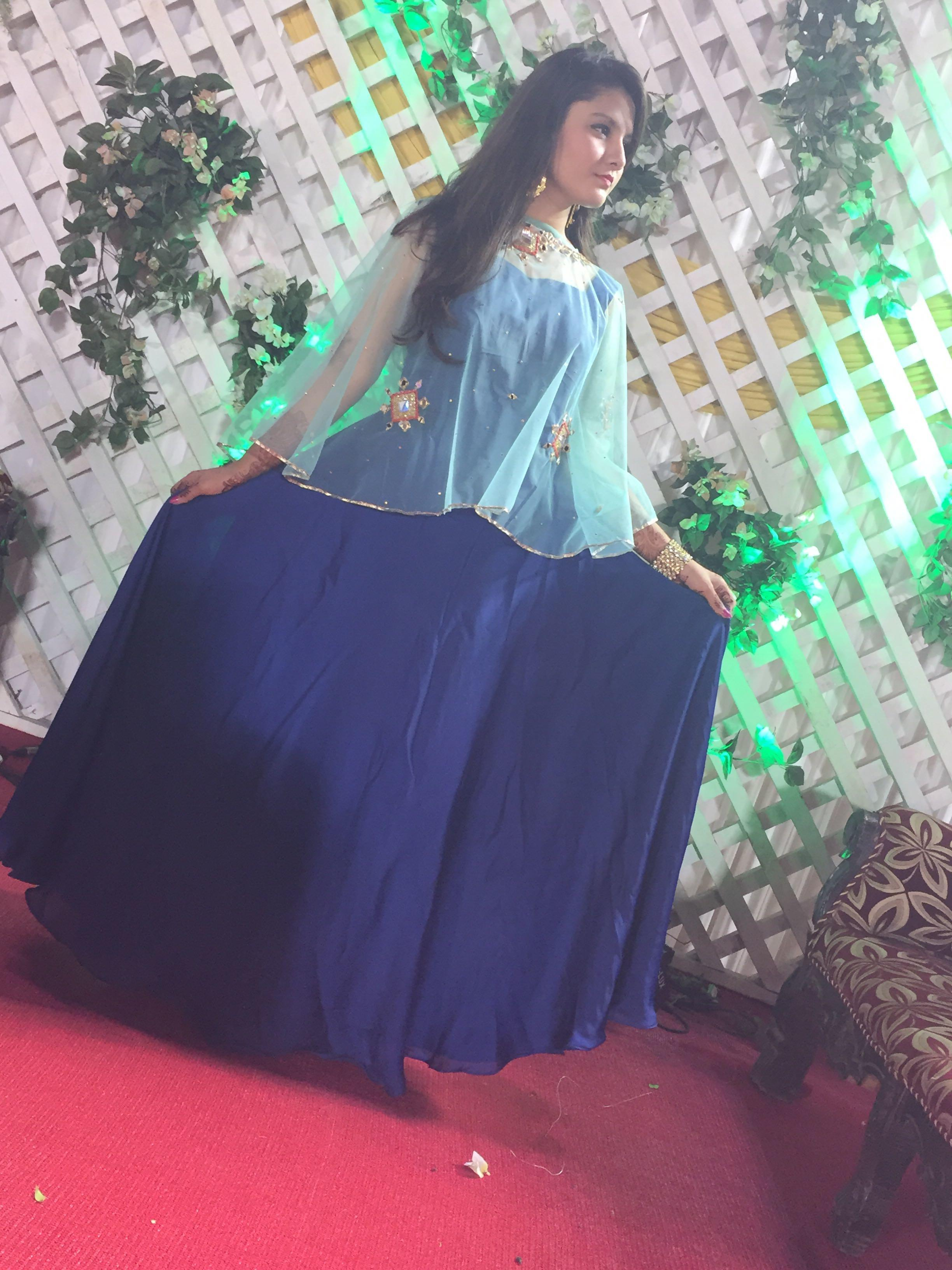 Navy Blue Gown With Cape Top From Rubaru Coutlootcom