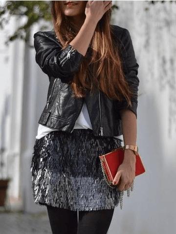 e55ad8480 Zara Basic Black and Grey Sequin skirt from Zara Basic – coutloot.com