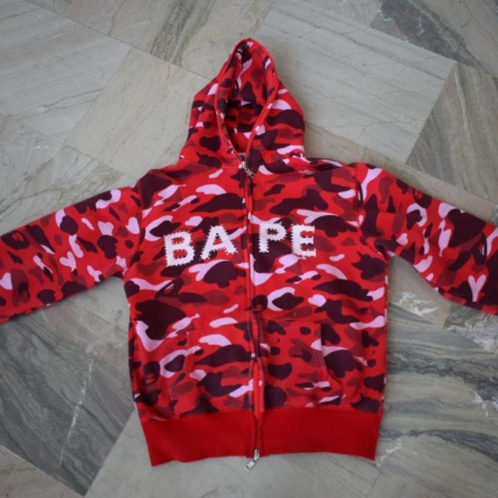 515ad65d Bape A Bathing Ape Red Camo Swarovski Nigo OG Full Zip Hoodie from A ...