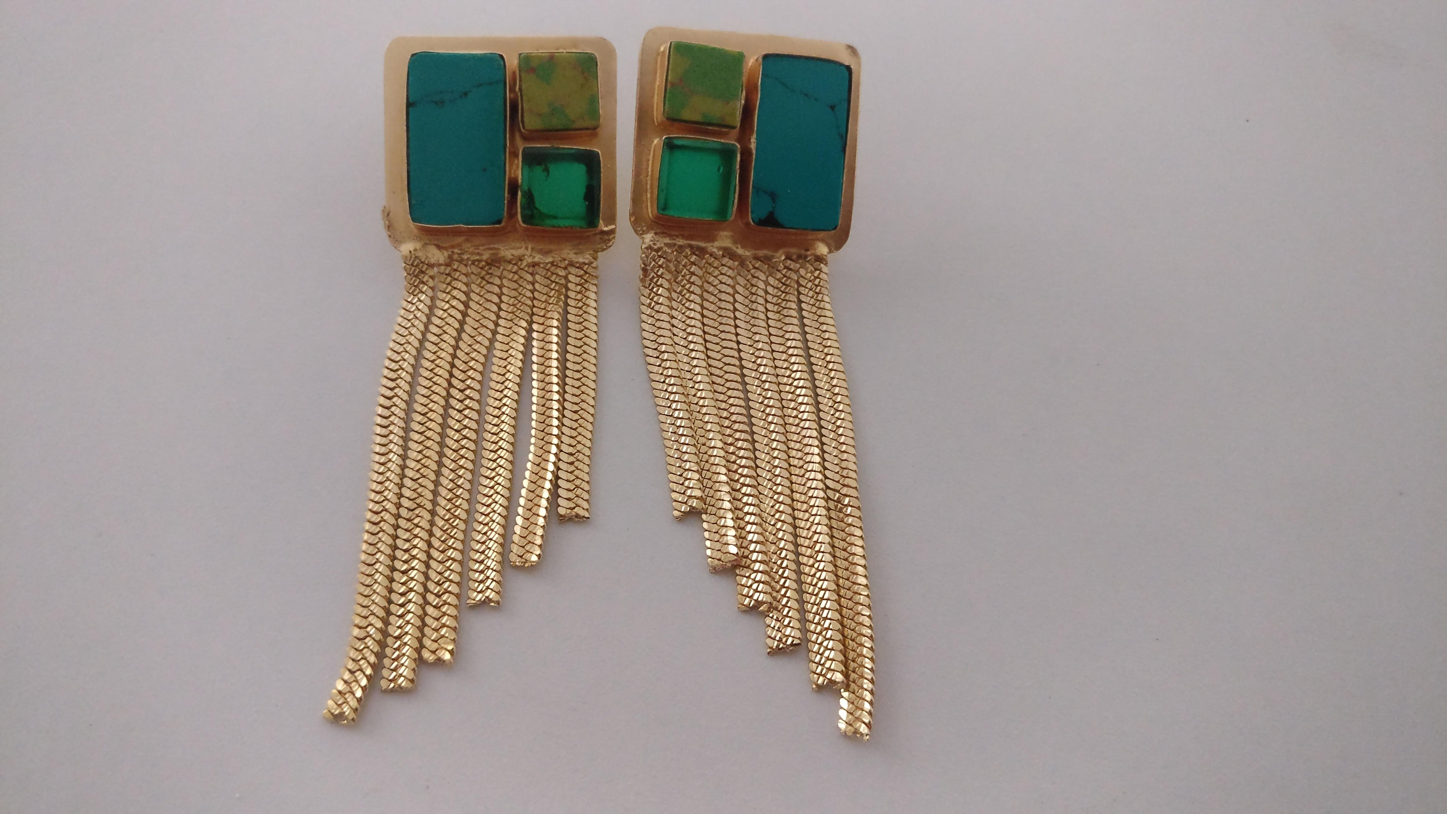 e03481798 Blue and Green stones with long gold chain tassel earrings from Kritika –  coutloot.com